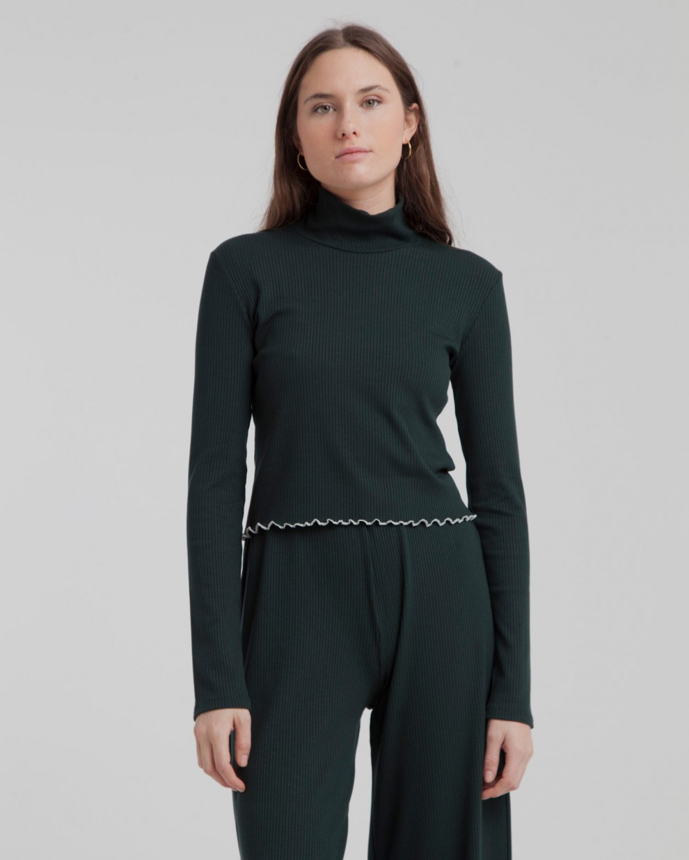 Scarab Green Ellen Rib  Turtleneck Top