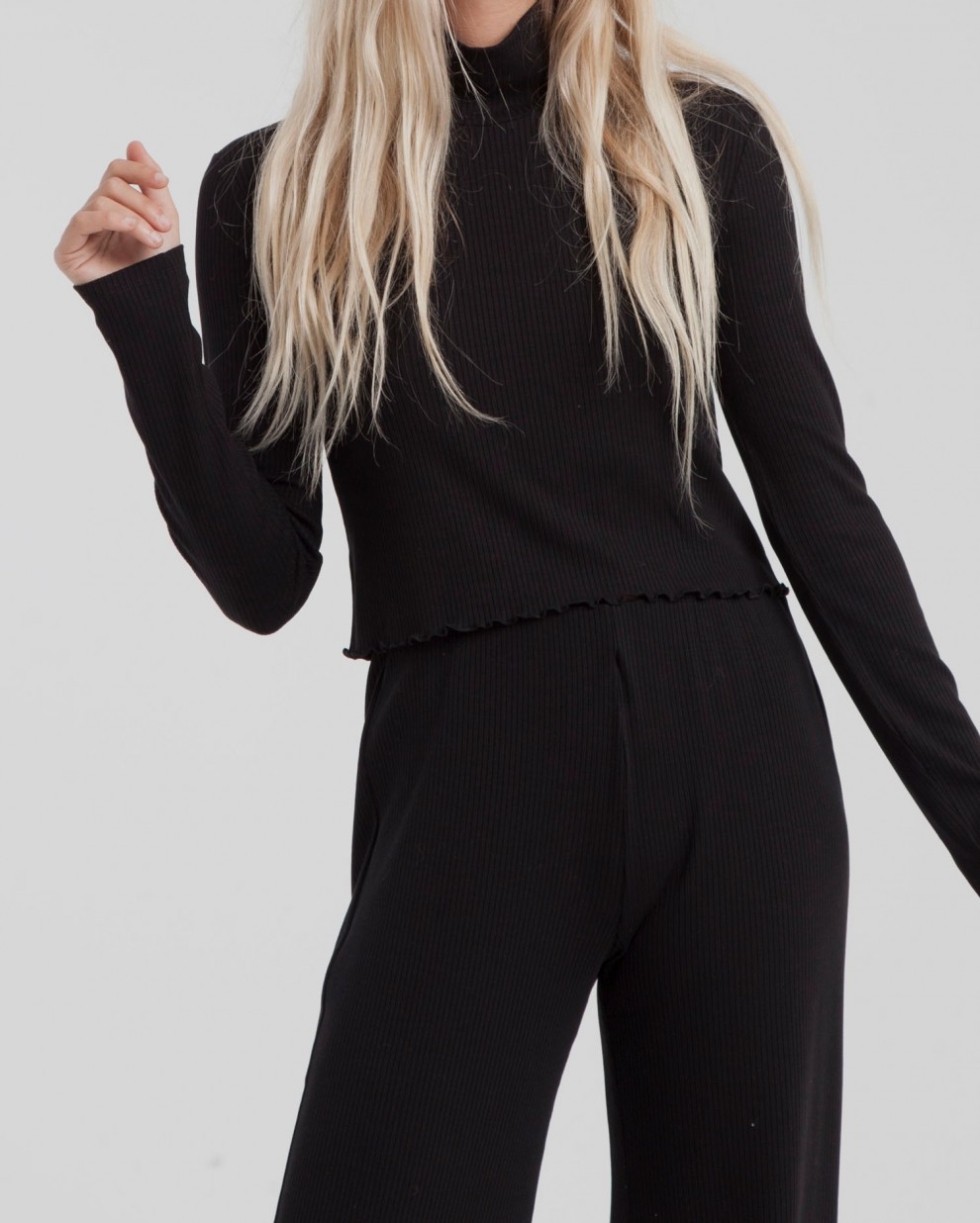 Black Ellen Rib Turtleneck Top