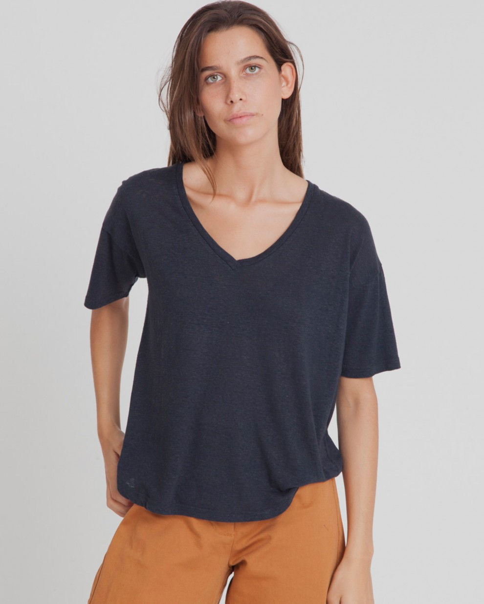 Dark Blue Hemp V-neck Tee