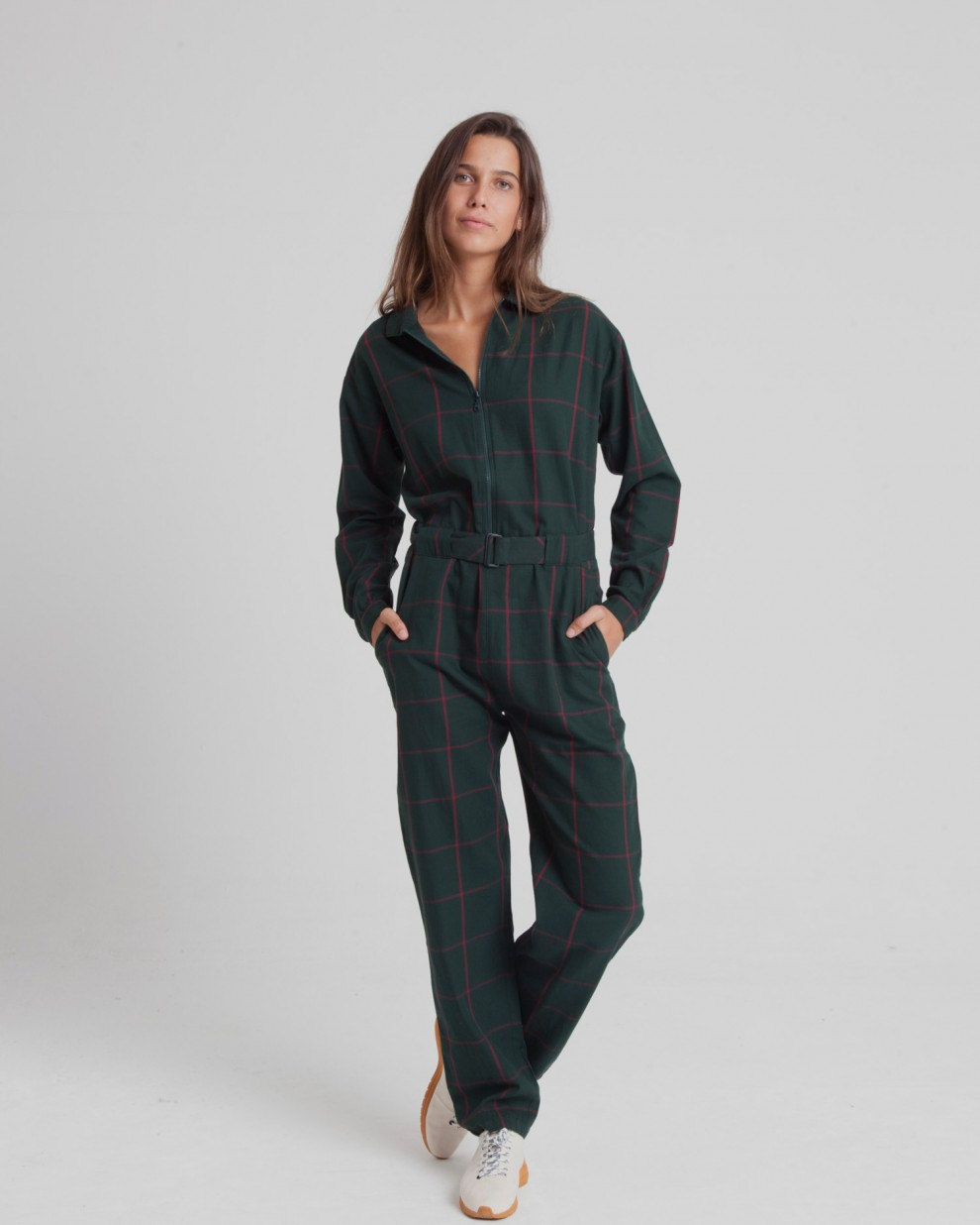 Green Checks Tomboy Jumpsuit