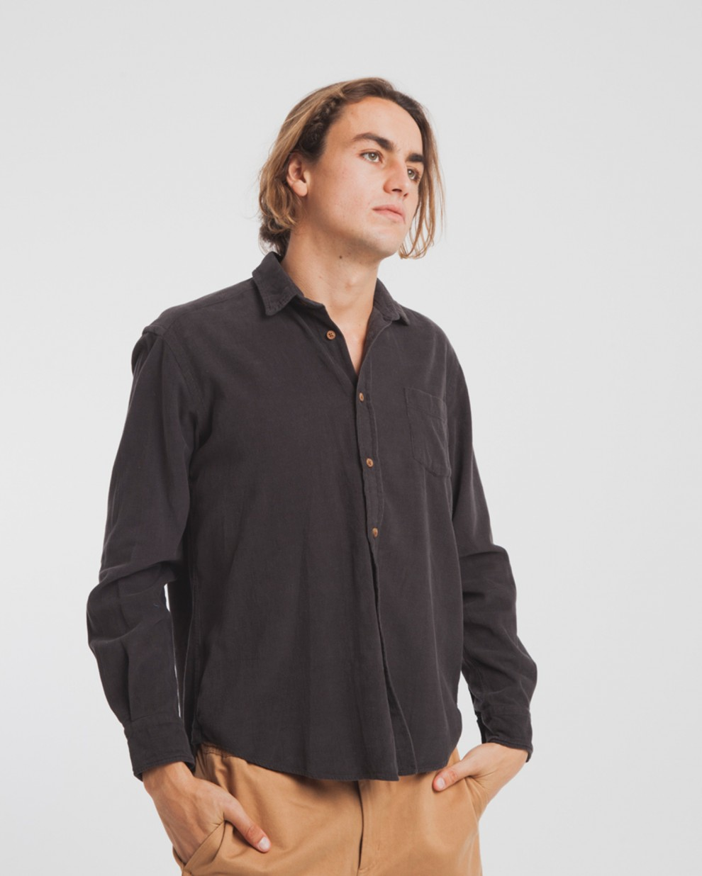 Dark Grey Corduroy Shirt