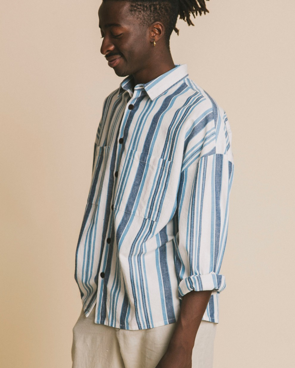 Camisa blue stripes Gambia
