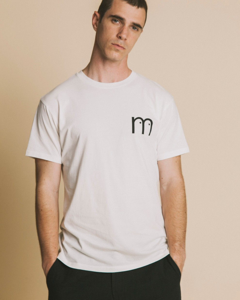 M Eyes white t-shirt