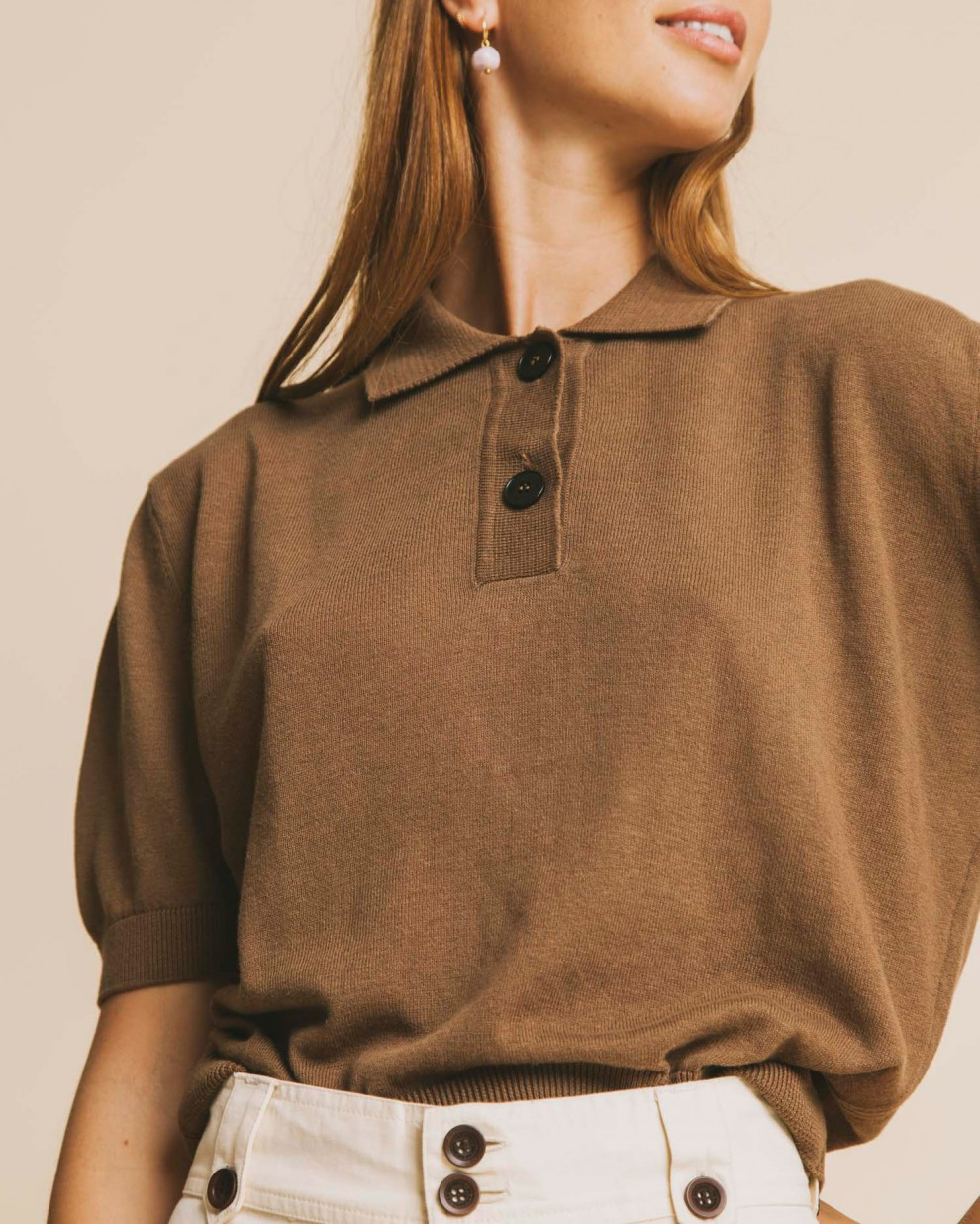 Brown Oti knitted polo