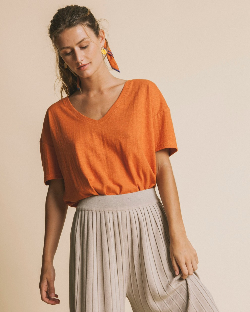 Terracotta hemp Chloe t-shirt