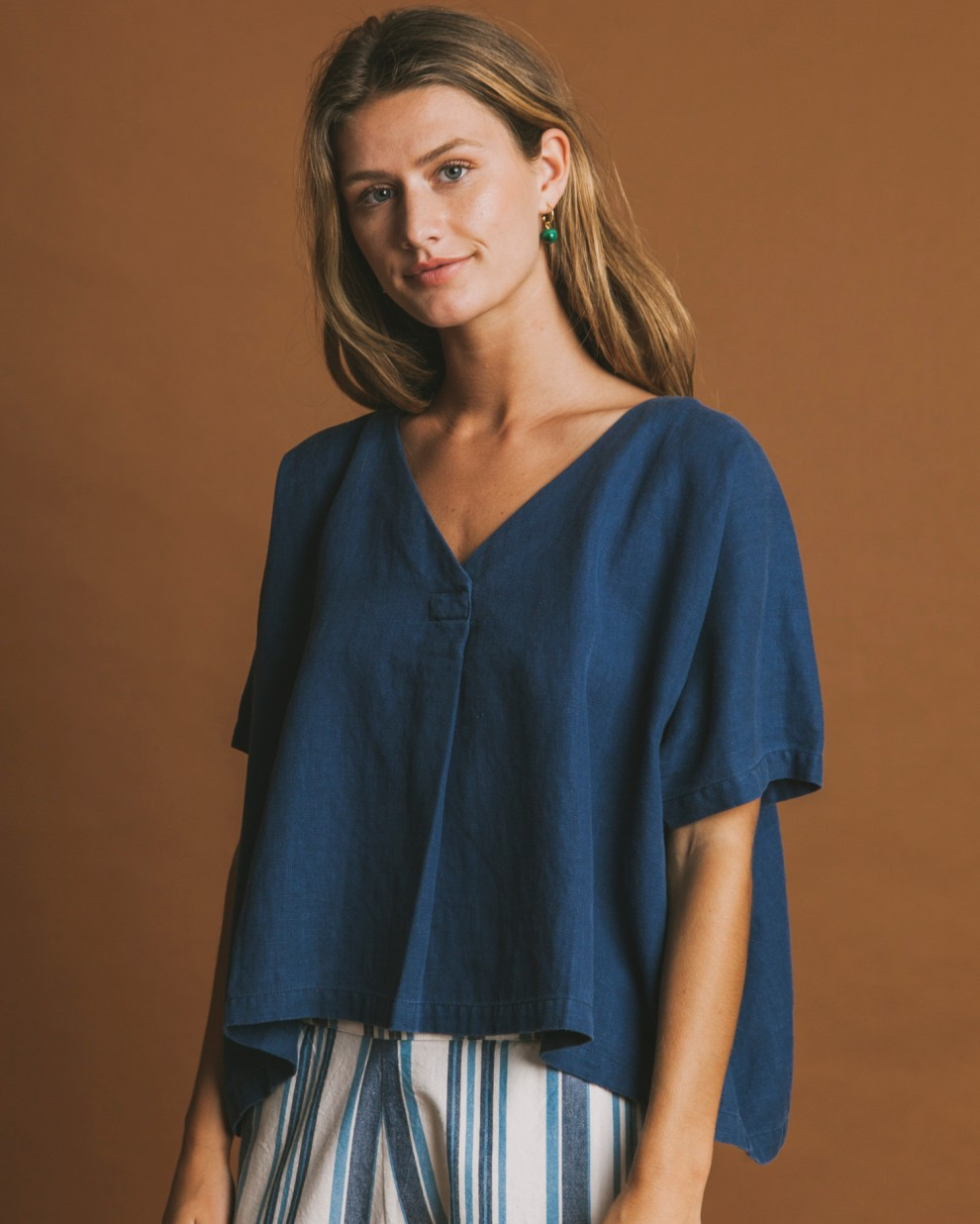 Blue hemp Kafue blouse