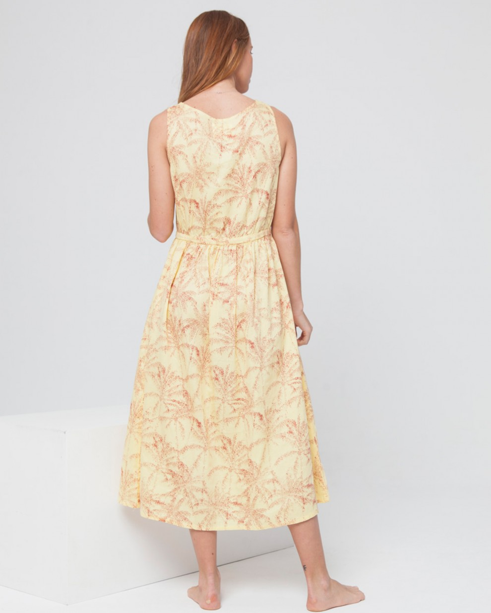 Yellow Palmeras Angelina Dress