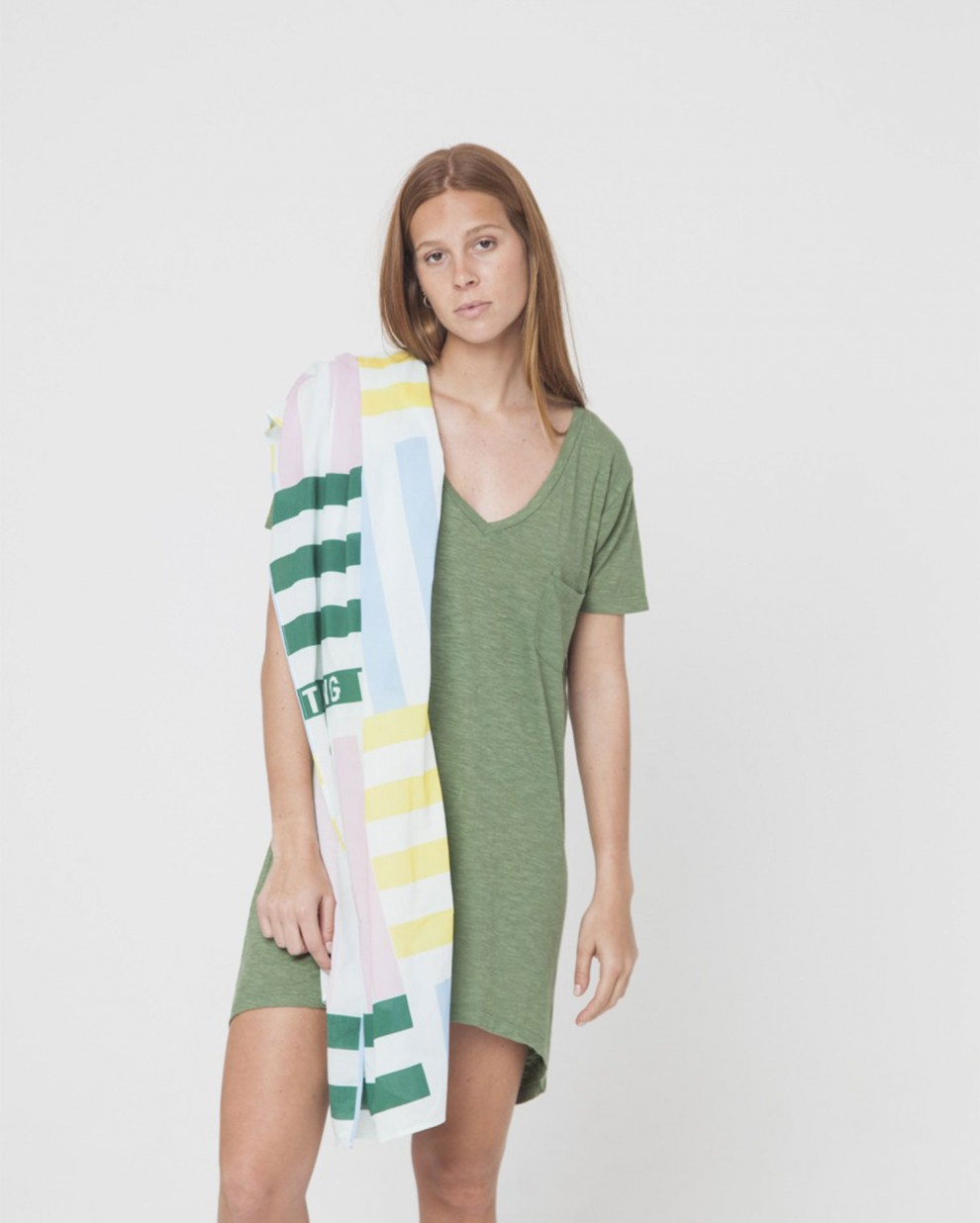 Green Hemp V-neck Dress