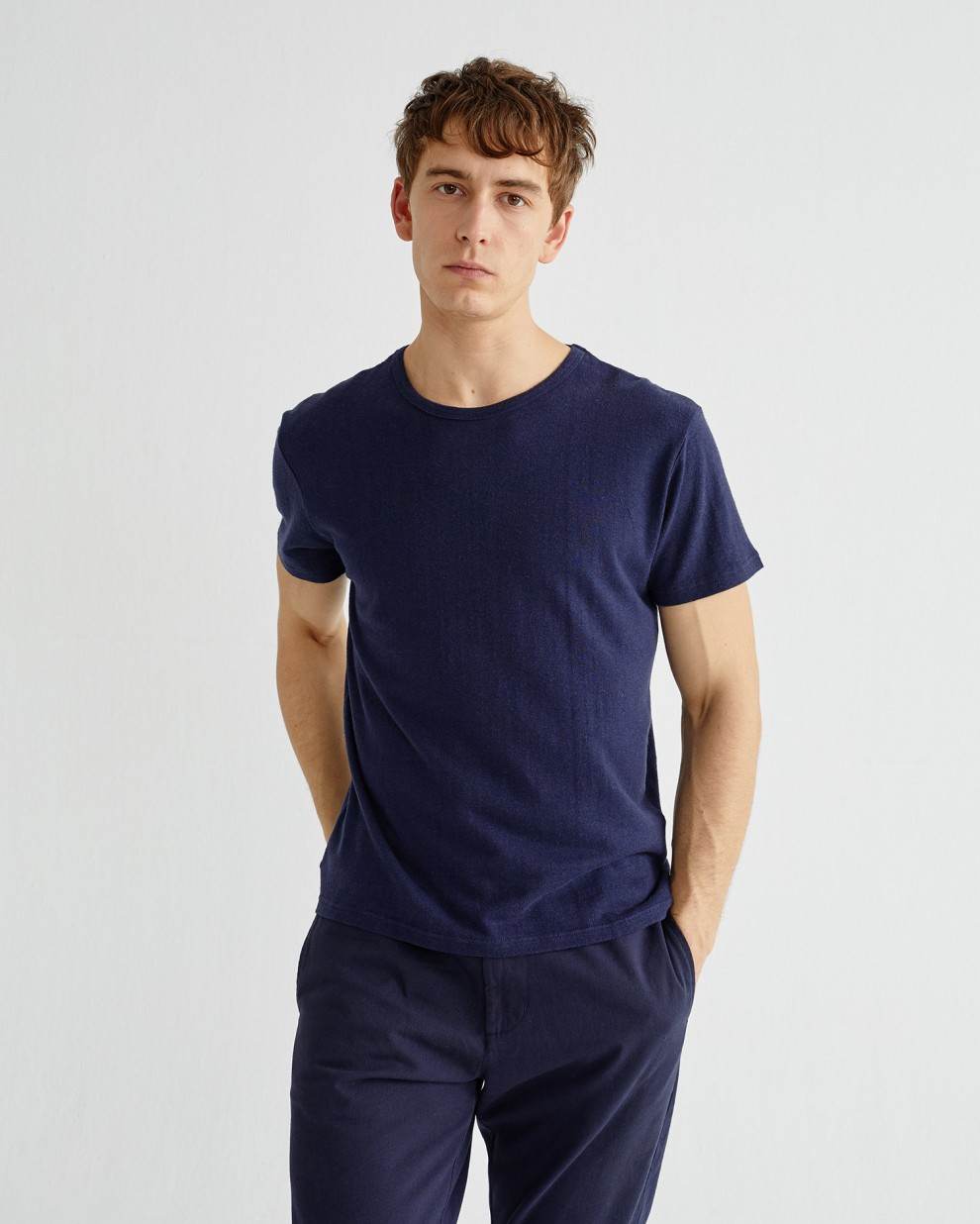 BASIC NAVY HEMP T-SHIRT