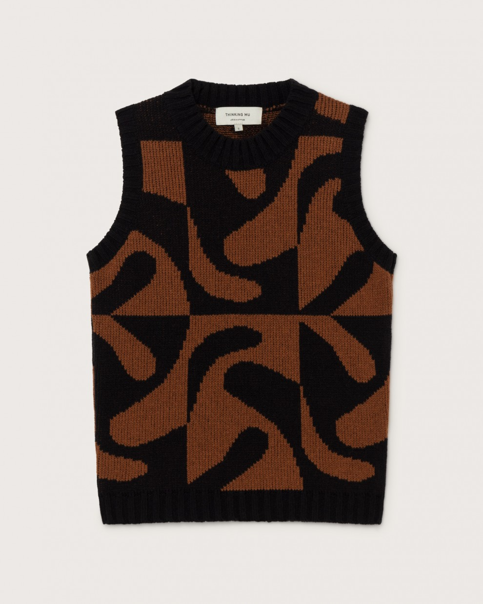 ZABAWA BROWN MUT KNITTED VEST