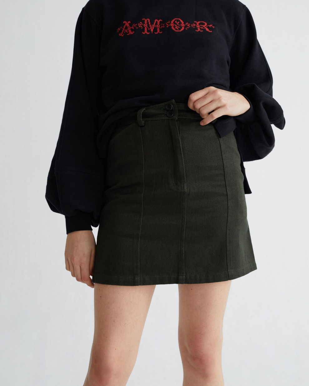 GREEN HEMP RHEA SKIRT