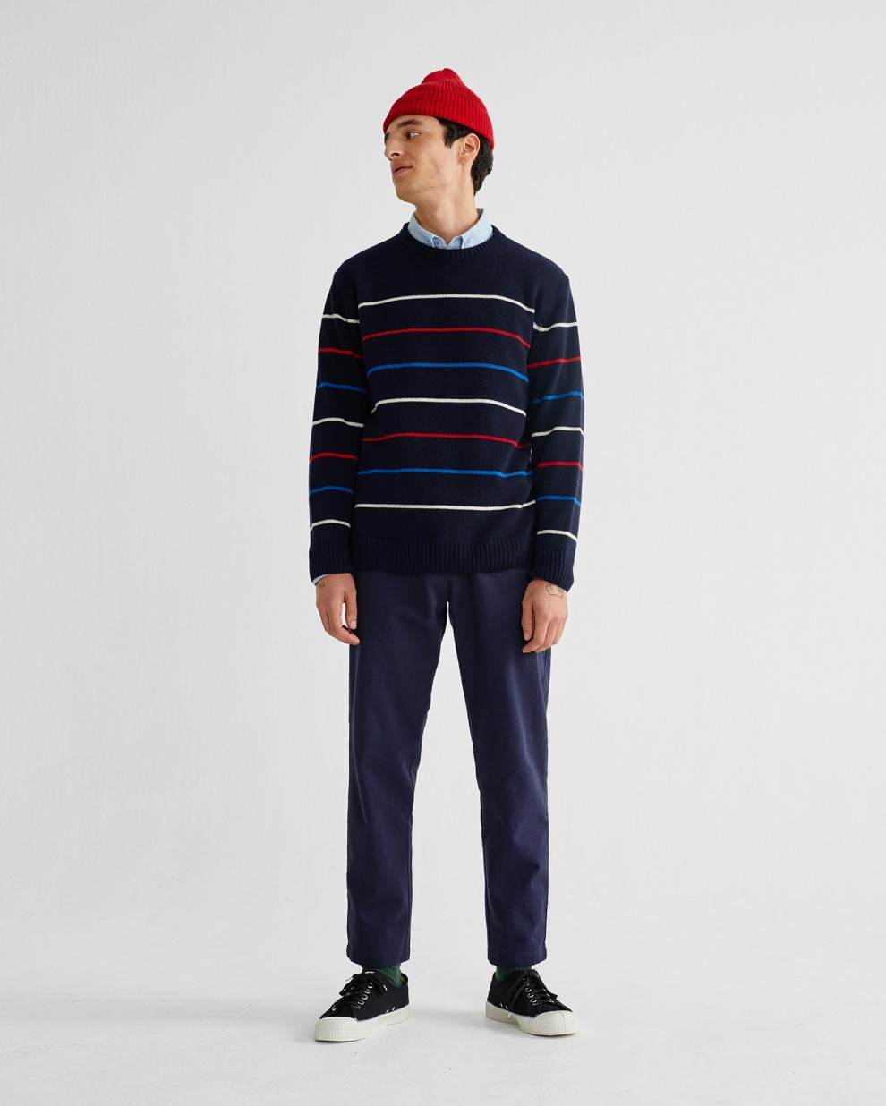 NAVY STRIPED MIKI SWEATER