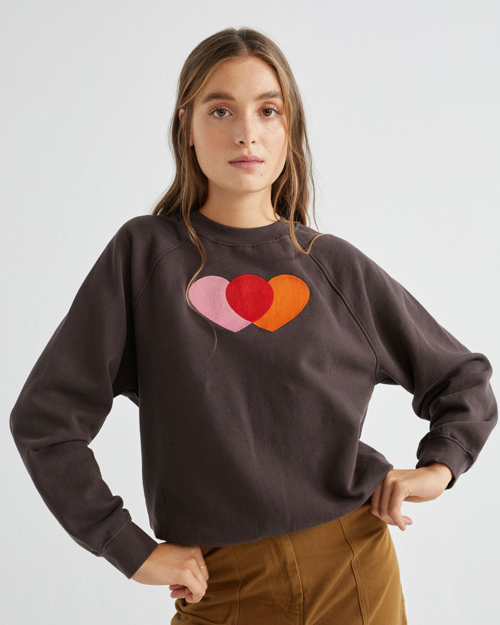 ORANGE HEARTS SWEATSHIRT