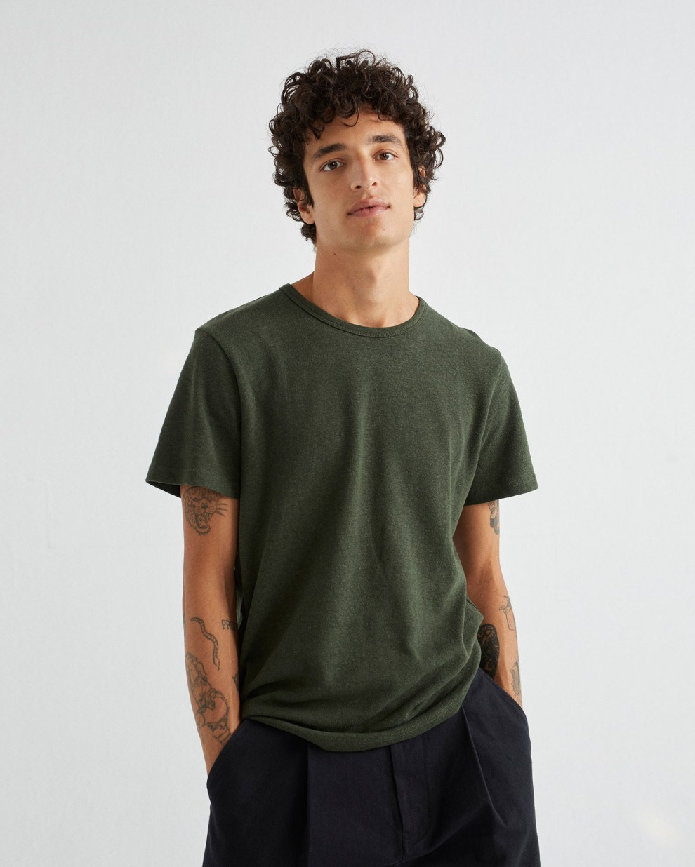 BASIC GREEN HEMP T-SHIRT