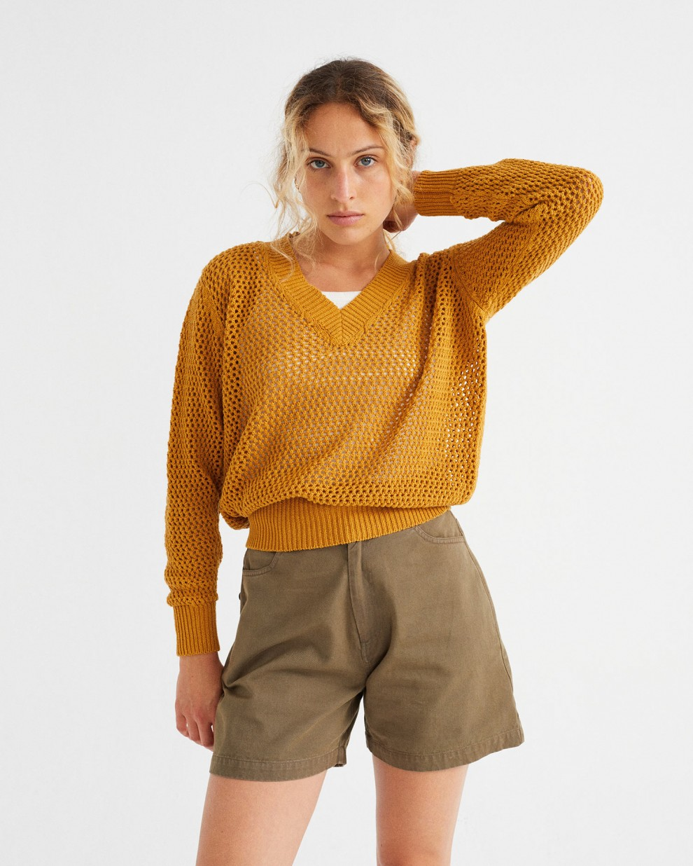 MUSTARD WILLOW MESH  SWEATER