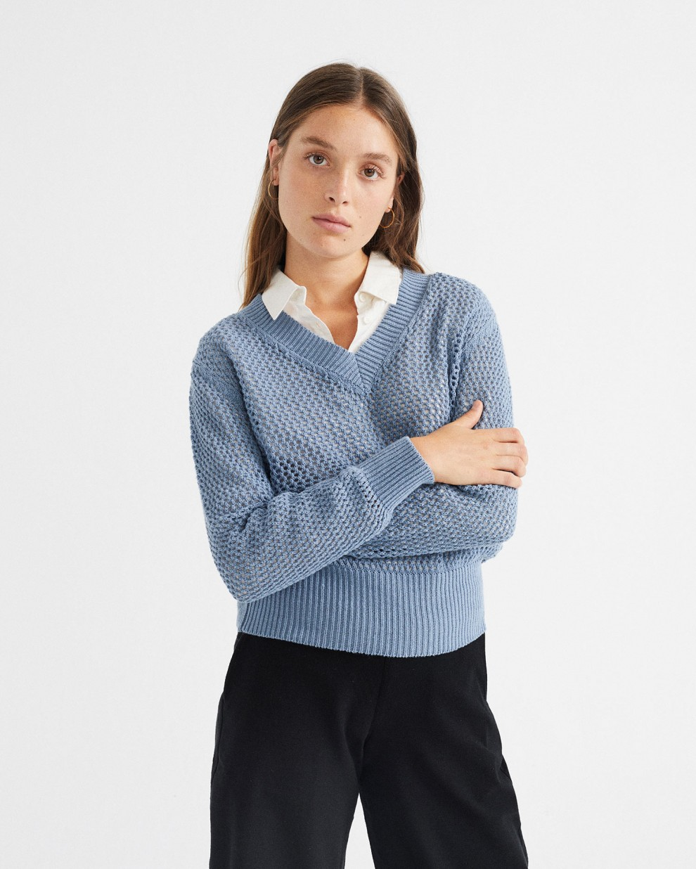 INDIGO WILLOW MESH  SWEATER